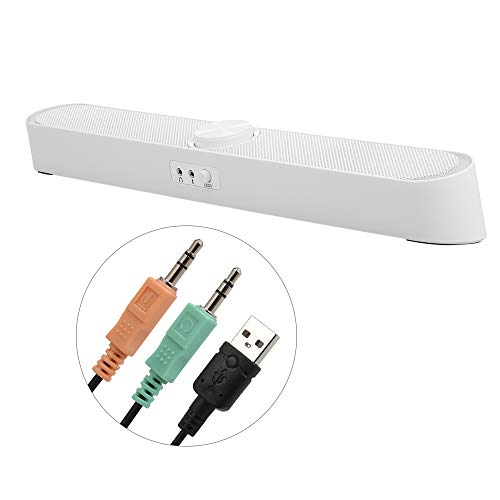 KKmoon PCスピーカー SADA V-198 USB電源サウンドバー コンピュータスピーカー ライト付き 3.5mmオーディオマイクプラグ 有線サウンドバースピーカー PC/携帯電話/タブレット/デスクトップ/パソコン用の商品画像