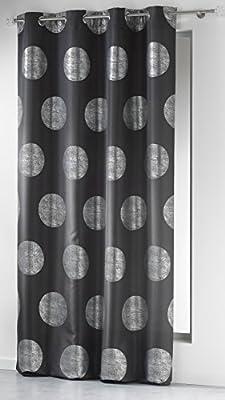 Douceur dInt/érieur Rideau /à Oeillet Polyester Imprim/ée Argent//Anthracite 140 x 260 cm