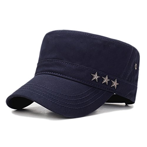Men's Cotton Twill Cadet Cap Sun Protection Adjustable Military Style Hat with Stars Detailing (Blue) ()