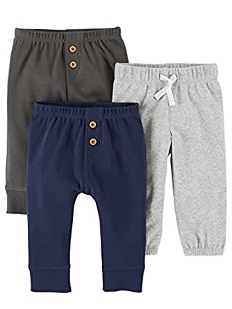 Carter's Baby Boys' 3 Pack Long Pants, Navy Grey, Preemie