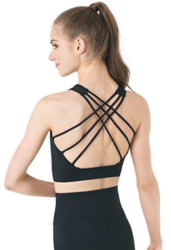 Balera FlexTek Top Womens Crop Top For Dance Girls Bra Top With Crisscross Strappy Back Medium Support