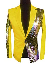 Men's Sequins Sparkly One Button Blazer S-Yellow