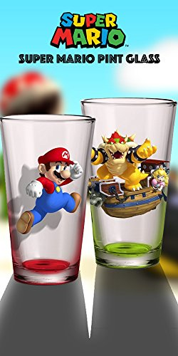 2-Pack 16oz Nintendo OFFICIAL Super Mario Bros.Red Mario and Green Bowser PREMIUM Pint Glass Novelty GIFT SET
