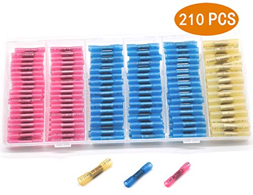 210PCS Heat Shrink Butt Connectors - Waterproof Electrical Wire Connectors Butt Terminals Kit by A AULIFE - 3 Size,3 Color
