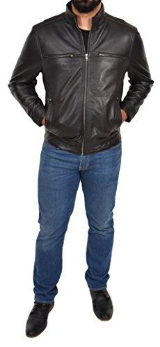 Chaqueta Felix de estilo Capa cuero cremallera para ajustada Biker suave Negro casual hombres genuino r1rBOa