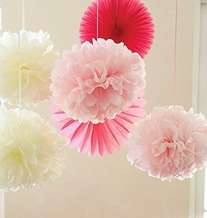 Amazon Sorive 6pcs Ivory Pink Pom Pom Flower Tissue Paper