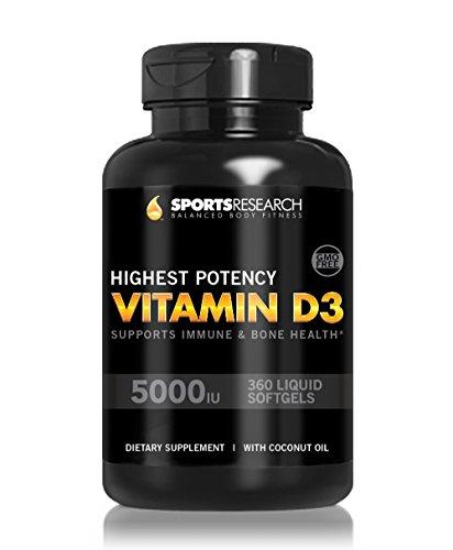 La vitamine D3 (5000iu) 360 mini-capsules; Renforcée avec l'huile de noix de coco organique pour une meilleure absorption; Made in USA