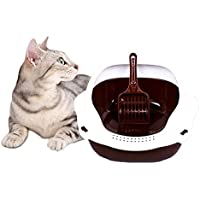 ANTOLE Semi-Enclosed Cat Litter Box with Cat Litter Scoop Cat Sandbox Cat Toilet Cat Pot is Designed to Offer Cats…