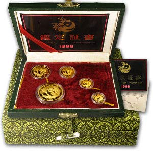 CN 1988 China 5-Coin Gold Panda Proof Set (Sealed, w/Box & COA) About Uncirculated