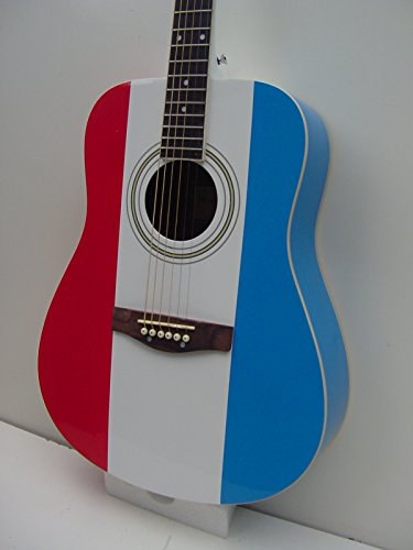 Full Size 6 String Red White Blue Acoustic Guitar with Gig Bag ()