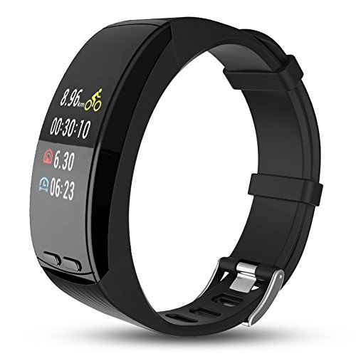 Ninecoo HD Color Display Fitness Tracker,Smart Fitness Watch Activity Tracker Sleep Heart Rate Monitor Sport GPS Tracker Calorie Counter Bluetooth Wristband for iOS & Android (Black) by Ninecoo