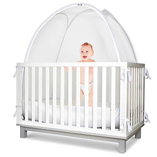 Baby Safety Crib Tent - Toddler Crib Topper to Keep Baby from Climbing Out - Clear View See Through Mesh Crib Netting - Mosquito Net - Pop-Up Crib Tent Canopy to Keep Infant in by KinderSense