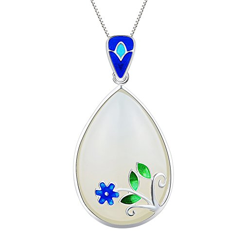 Chalcedony Drop Pendant - Chumei Women's S925 Sterling Silver Drop Natural Chalcedony Pendant For Female Jewelry Gifts