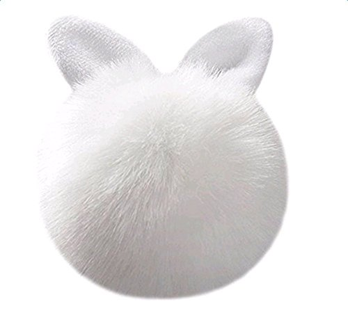 Qingsun Cute Imitate Rabbit Fur Ball Bunny Ears Keychain Handbag Key Ring Car Keychain-White