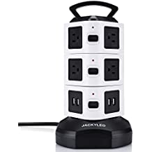 Power Strip Tower JACKYLED Surge Protector Electric Charging Station 3000W 13A 16AWG 10 Outlet Plugs with 4 USB Slot + 6ft Cord Wire Extension Universal Socket for PC Laptops Mobile