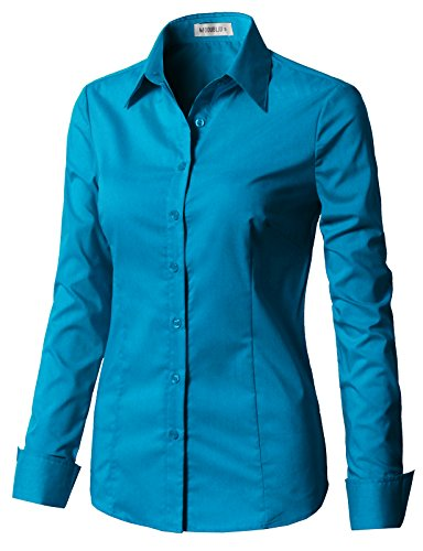 CLOVERY Women's Tailored Long Sleeve Slim Fit Button Down Shirt Turquoise S (Western Show Shirts Men)