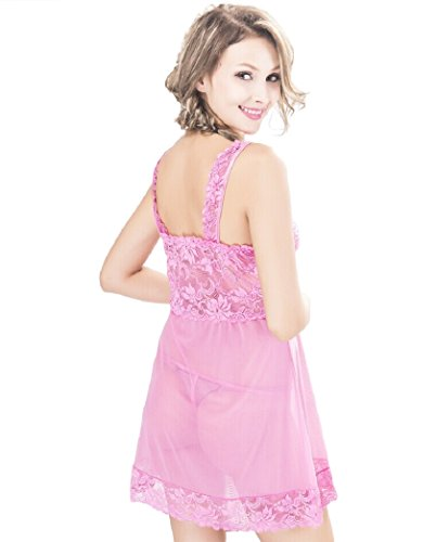 Nasse Women's Embroidered Lace Floarl Babydoll Lingerie Set Sexy Nightwear Perspective Chemise (Nylon Chemise Embroidered)