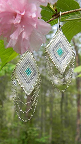 Home Comforts Peel-n-Stick Poster of Triangle Sterling Silver Seed Beads Earrings Woven Vivid Imagery Poster 24 x 16 Adhesive Sticker Poster Print