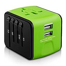 EMMA's Adaptador de Viaje 2 Puertos USB con Conector para América, Europa, Reino Unido y Australia (+160 Países) (2 USB)