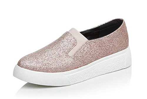 Aisun Women's Casual Comfy Sequins Elastic Slip On Platform Sneakers Pink vj3Ysa