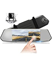 """Mirror Dash Cam for Cars 7"""" 1080P Dual Lens IPS Touch Screen, Dash Cam Front and Rear View, Waterproof Backup Camera, 170°Wide Angle with G-Sensor Parking Monitor Motion Detection"""