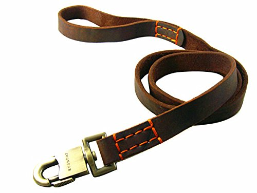 Fashion shop Braided Leather Dog Leash for Large Dogs Canine Training Lead 4ft Long By 1 Inch Wide Dark Brown 2 style for choose. (Sutural)