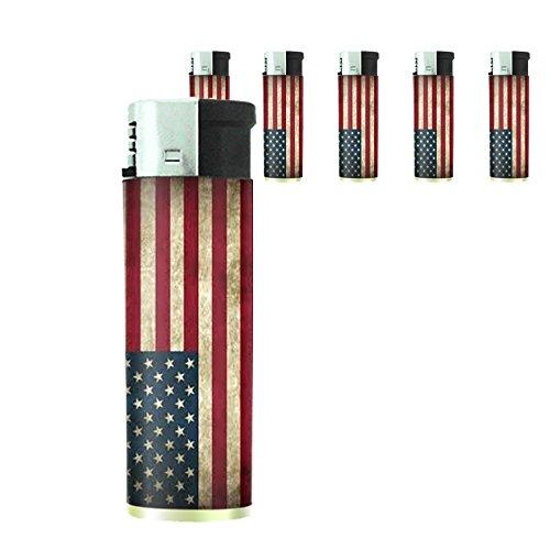 Vintage American Flag Set of 5 Lighters D1 Patriotic Freedom American Heroes Veterans by Perfection In Style