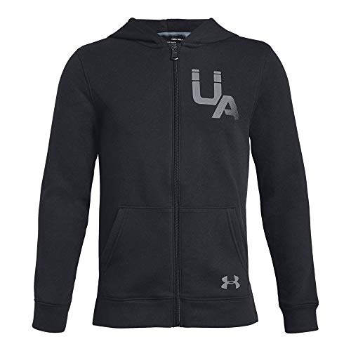 (Under Armour Boys Rival Logo Full Zip, Black (001)/Steel, Youth Large)