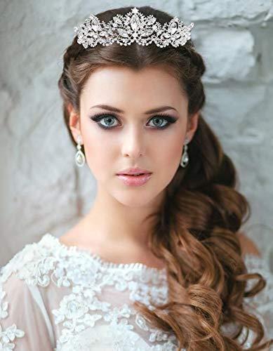 Aprilfun Femmes Tiara-Couronne de Cristal Baroque pour Les Filles de mari/ée Reine Princesse /à Mariage Anniversaire Pageant Party