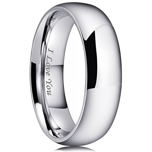King Will BASIC 7mm Stainless Steel Ring Original Color Full High Polished with Laser Etched I Love You(10) by King Will