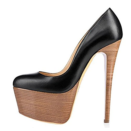 Onlymaker Womens Sexy Platform Round Toe High Heels Slip On Stiletto Party Dress Pumps Black Wood 12 M US