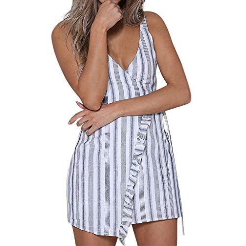Rakkiss Women Short Dress Striped V-Neck Ruffles Bandage Loose Mini Skirt Plus Size Sleeveless Button Summer Dress White ()