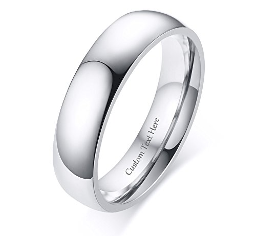 VNOX Customize 5MM Stainless Steel Classic Ring Band for Promise Engagement Wedding,Silver,Size 9 by VNOX