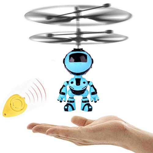 Gbell RC Helicopter Flying Kids Robot Toys - Rechargeable Mini Infrared Induction Remote Control Robot Drone Educatioanl Toy Gifts for Boys Girls Kids Adults (Blue)