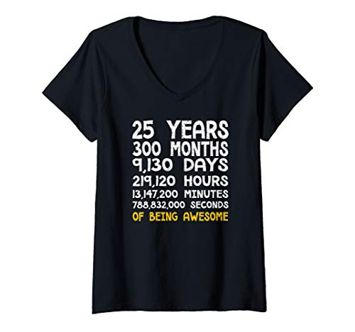 Womens 25th Birthday 25 Years Old Being Awesome Anniversary V-Neck T-Shirt ()