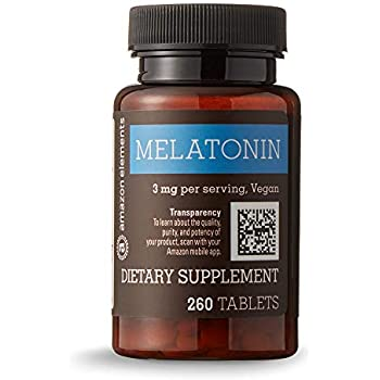 Amazon Elements Melatonin 3mg, Vegan, 260 Tablets, 8 month supply