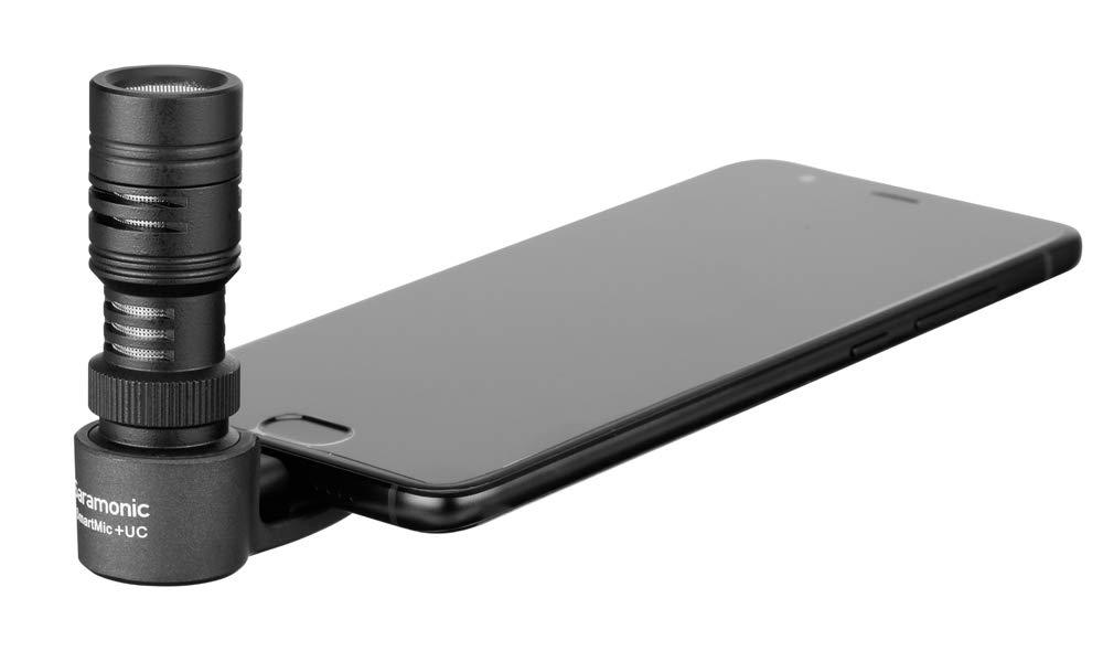 Micrófono direccional compacto SmartMic + UC con conector USB-C para teléfonos inteligentes y tabletas Android con parab