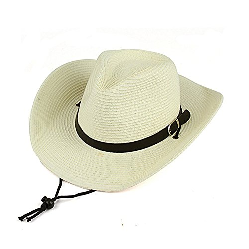 Cowboy Beach Straw Hat (Opromo Adults Kids Cowboy Straw Hat Wide Brim Hat Summer Beach Sun Cap Foldable-White-Adult)