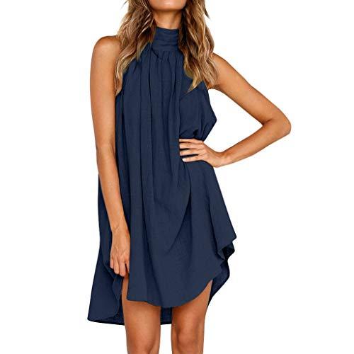 Sunhusing Womens Halter Neck Dress Boho Style Solid Color Sleeveless Office Swing Beach Party Sundress Blue (Umbrella Yellow Buy Online)