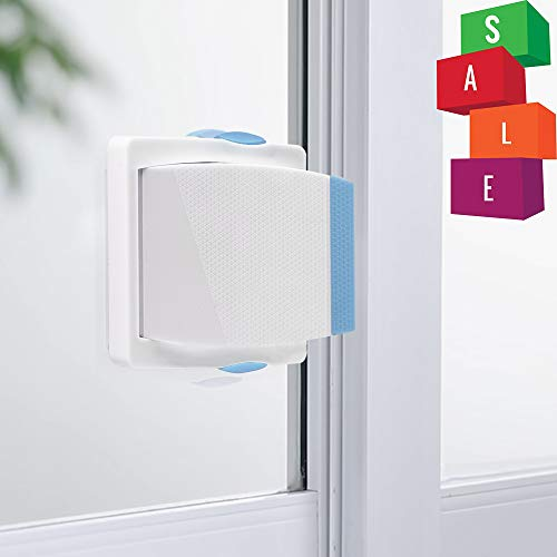 [4 Pack] Sliding Door Lock, Childproof Safety Lock for Sliding Closet Cupboard Bathroom Kitchen Doors Windows by Kelamayi (White & Blue)