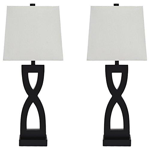 Ashley Furniture Signature Design - Amasai Table Lamps - Set of 2 - Modern Base - Black