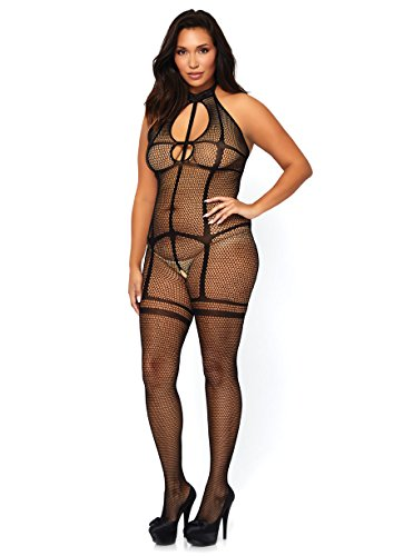 Leg Avenue Women's Fishnet Halter Bodystocking with Opaque Garter Illusion and Keyhole Cut Out, Black, Plus (Cut Out Bodystocking)