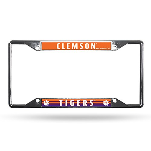Rico Industries NCAA Clemson Tigers Easy View Chrome License Plate Frame, 6