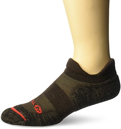 (Merrell Men's 1 Pack Cushioned Performance Dual Tab Trail Runner Socks, Brown Heather, Shoe Size: 9.5-12)