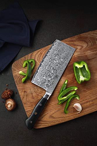 KATSURA Chinese Cleaver Knife – 6.5 Inch – Premium AUS 10, 67 Layers Japanese Damascus Steel Knife -Chefs Choice – Luxury Gift Box by KATSURA (Image #1)