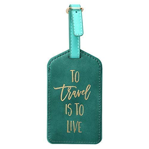 Luggage Tags, Suitcase Labels Bag Travel Accessories, PU Leather - 2.5 in x 4.5 in (Green) ()