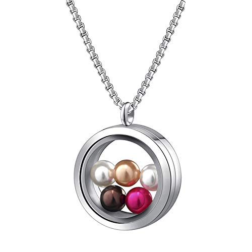 SAM & LORI Pearl Cage Necklace Pendant Large Pick A Pearl Holder Stainless Steel 30mm Glass Floating Twist Locket Charms Jewelry Gift Set with 5pcs Round Wish Pearls of 7-8 mm Inside for Women Girls
