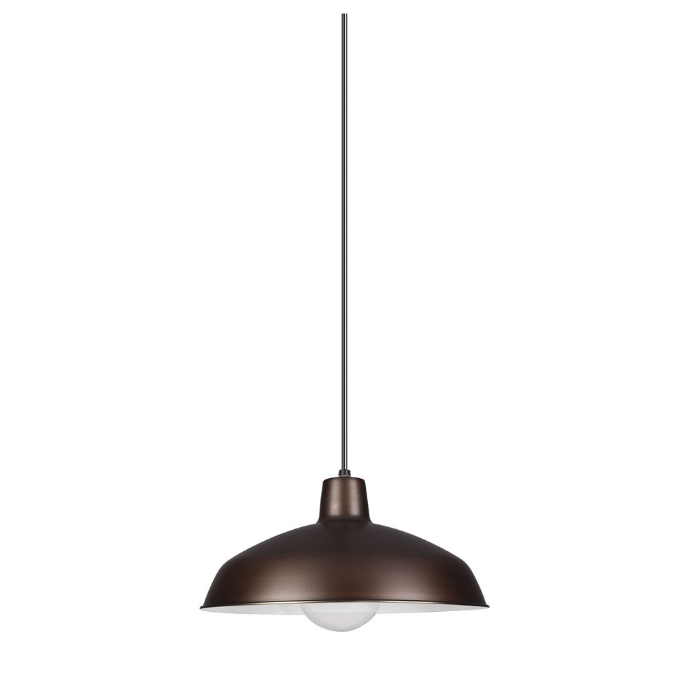Sea Gull Lighting 6519-63 Painted Shade Pendants One-Light Pendant, Antique Brushed Copper Finish