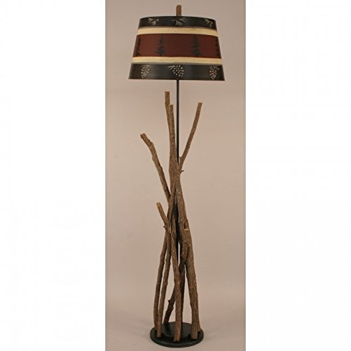Pine Tree Floor Lamp - Coast Lamp Manufacturer 12-R36A Bundle of Sticks Floor Lamp with Tree & Pine Cone Shade - 64 in.