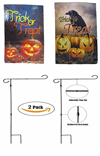 ALBATROS 12 inch x 18 inch Happy Halloween #8 Sleeved with Garden Stand Flag for Home and Parades, Official Party, All Weather Indoors Outdoors